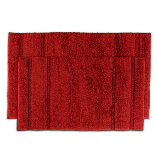 Somette Tranquility Cotton Chili Pepper Red 2-piece Bath Rug Set