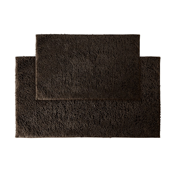 Somette Grace Chocolate Cotton Bath Rug Set of 2