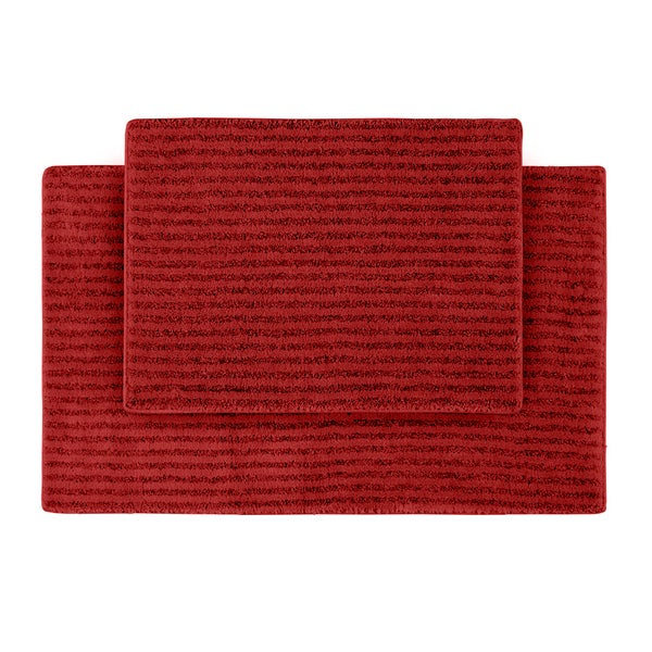 somette xavier stripe chili pepper red 2 piece bath rug set free shipping today overstock. Black Bedroom Furniture Sets. Home Design Ideas