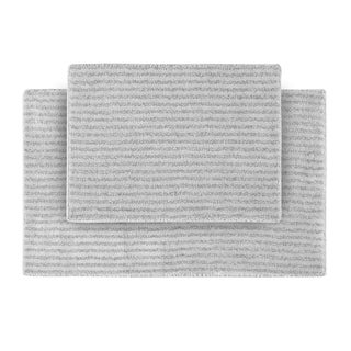 Somette Xavier Stripe Platinum Grey Bath Rugs (2 pc)