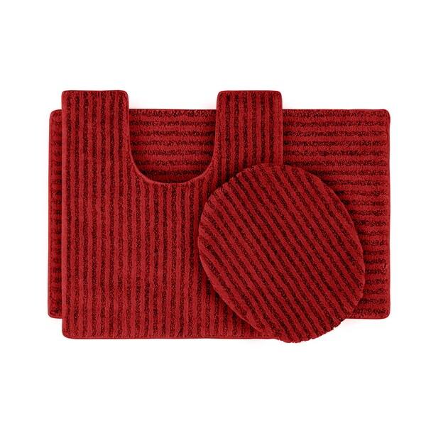 Somette Xavier Stripe Chili Pepper Red 3-piece Bath Rug Set
