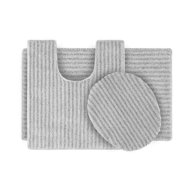 Somette Xavier Stripe Platinum Grey Bath Rug Set of 3