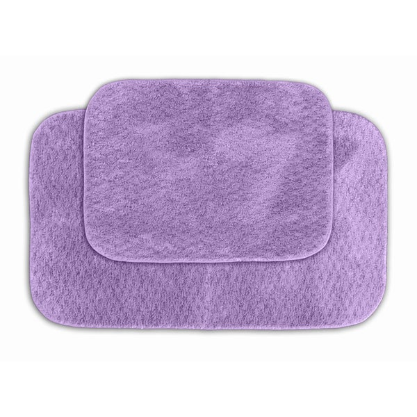 Somette Enliven Textured Purple Bath Rugs (Set of 2)