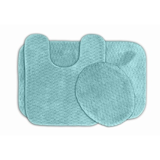 Somette Enliven Seafoam Textured Bath Rugs 3-piece Set