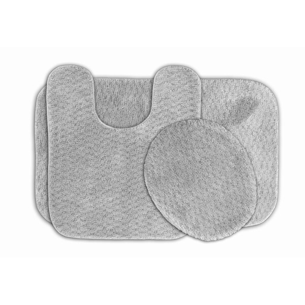 Somette Enliven Platinum Grey Textured Bath Rugs 3-piece Set