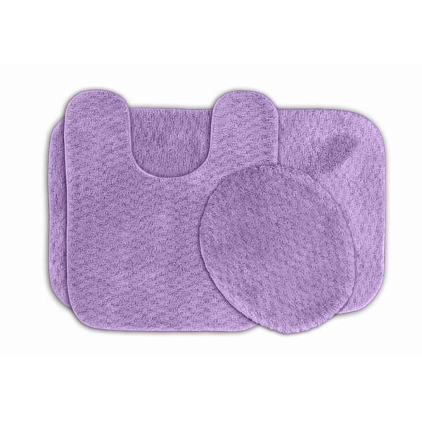 Purple Bathroom Mat Sets: Shop Somette Enliven Purple Textured Bath Rugs 3-piece Set