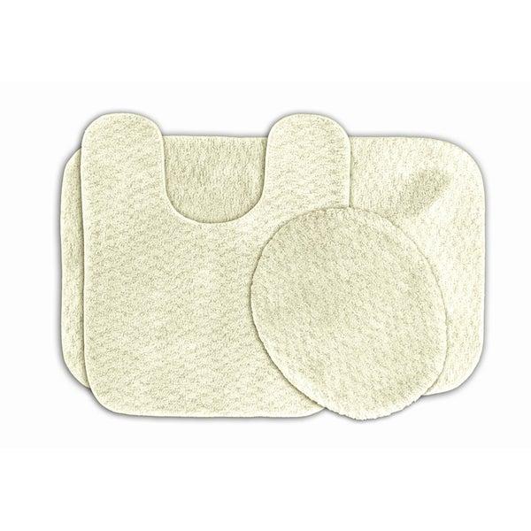 Somette Enliven Ivory Textured Bath Rugs 3-piece Set