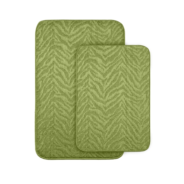 Somette Wild Style Lime Green Bath Rug 2-piece Set