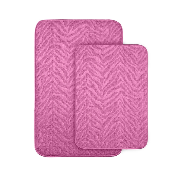 Somette Wild Style Pink Bath Rugs (Set of 2)