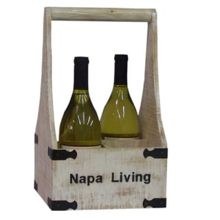 Countryside Distressed Wood 4-Bottle Wine Holder