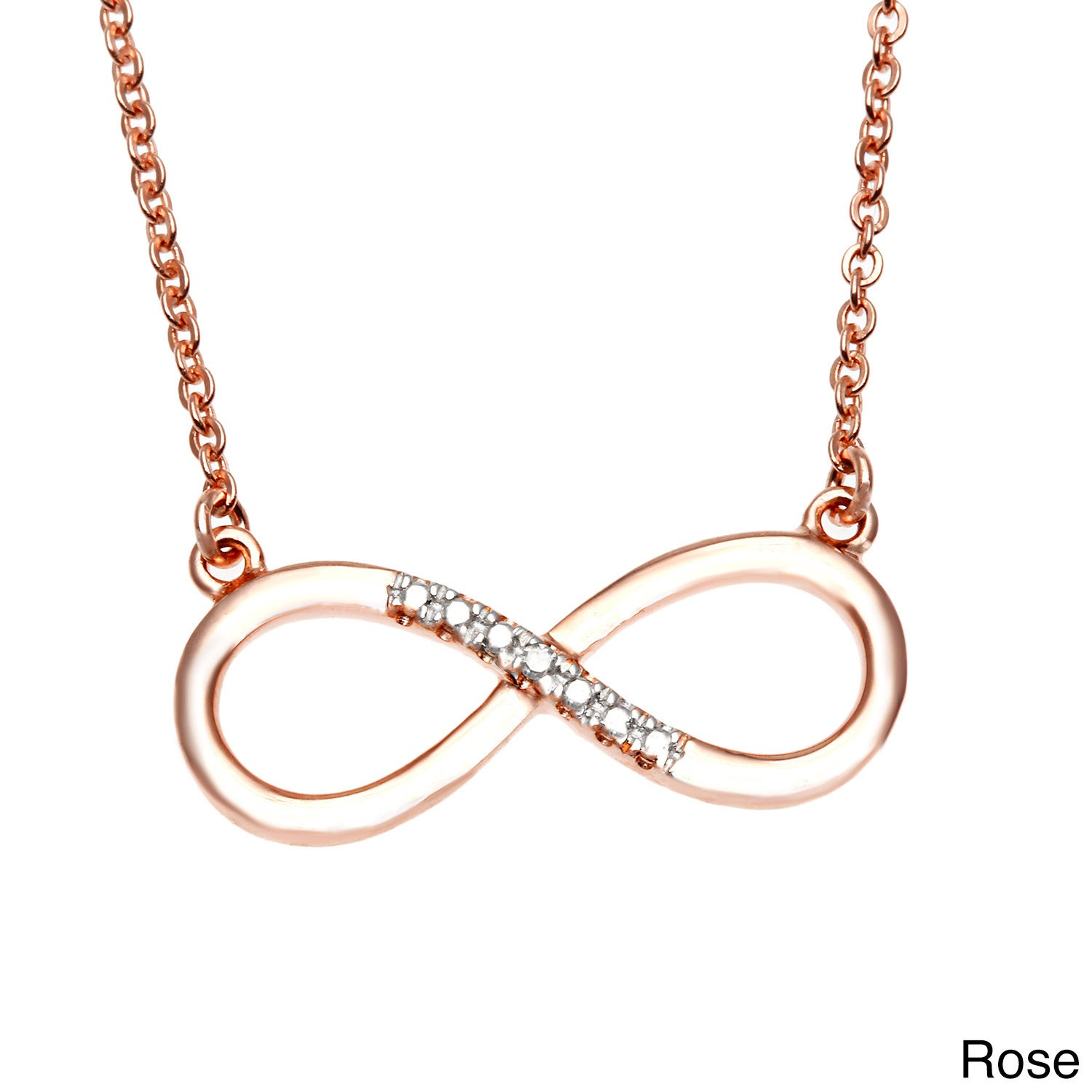 Sterling Silver Diamond Accent Infinity Necklace (Rose), ...