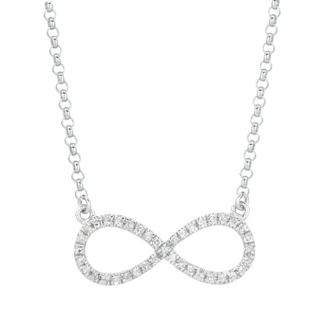 Sterling Silver 1/5ct TDW Diamond Infinity Necklace (Silv...