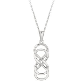 Shop sterling silver diamond accent double infinity necklace free shop sterling silver diamond accent double infinity necklace free shipping today overstock 7971835 aloadofball Choice Image