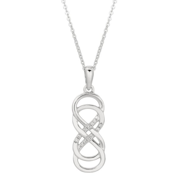 Shop sterling silver diamond accent double infinity necklace free sterling silver diamond accent double infinity necklace aloadofball Image collections