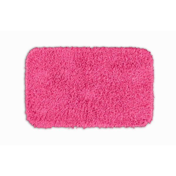 Somette Quincy Super Shaggy Pink Washable 24x40 Bath Rug