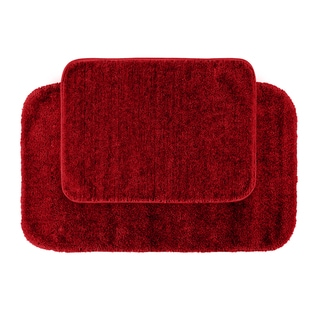 Somette Plush Deluxe Chili Pepper Red Washable 2-piece Bath Rug Set