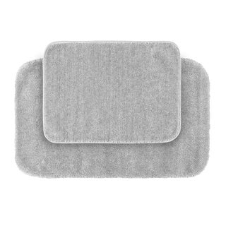 Somette Plush Deluxe Platinum Grey 2-piece Bath Rug Set