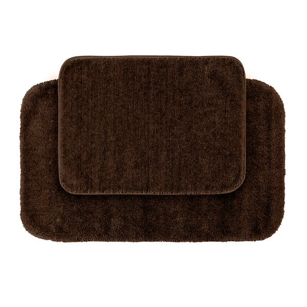 Somette Plush Deluxe Chocolate 2-piece Bath Rug Set