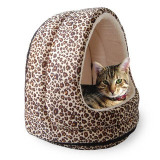 PAW Furry Cheetah Print Canopy Pet Bed Cave for Cats