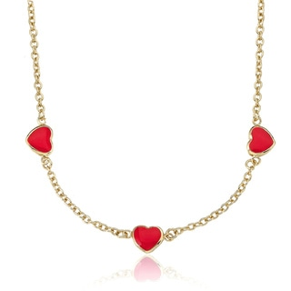 Little Miss Twin Stars Goldplated Children's Red Enamel Heart Necklace