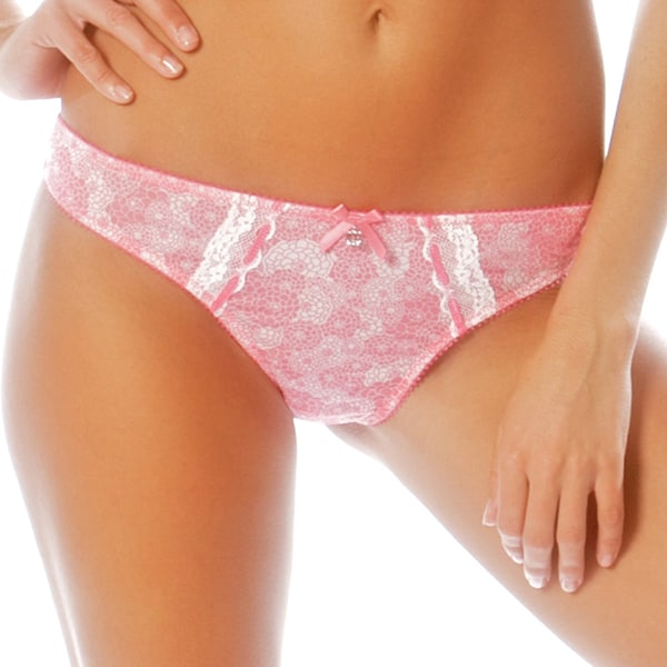 Parfait Women's 'Isabella' Hot Pink Embroidered Thong (Plus Size Available)