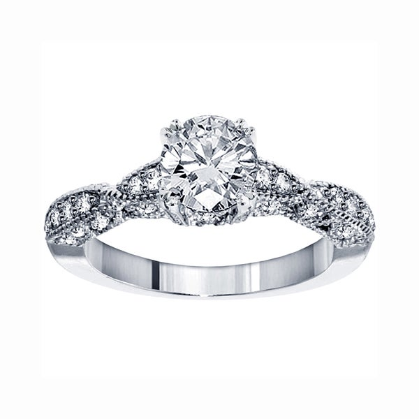 14k White Gold 1 3/4 CT TDW Clarity Enhanced Brilliant Cut Diamond Engagement Ring (F-G, SI1-SI2)