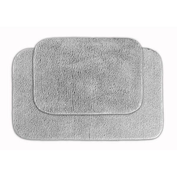 Somette Cheltenham Platinum Grey Bath Rug (Set of 2)