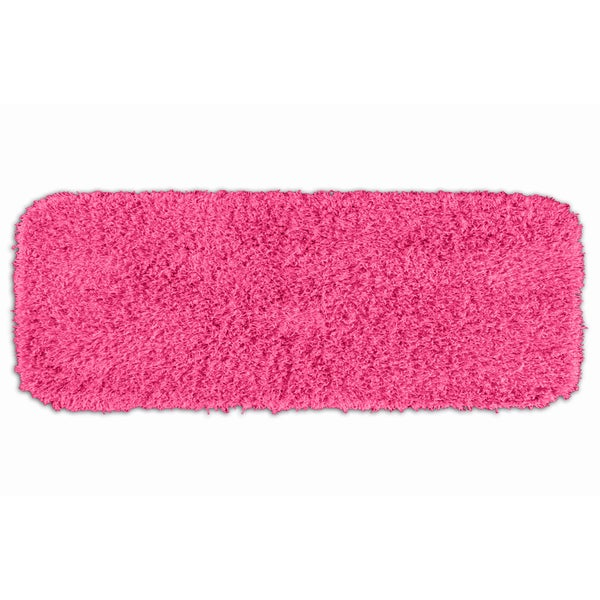 Somette Quincy Super Shaggy Pink Washable Bath Runner