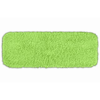 Somette Quincy Super Shaggy Lime Green Washable Bath Runner