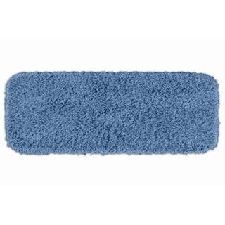 Somette Quincy Super Shaggy Basin Blue Washable Bath Runner