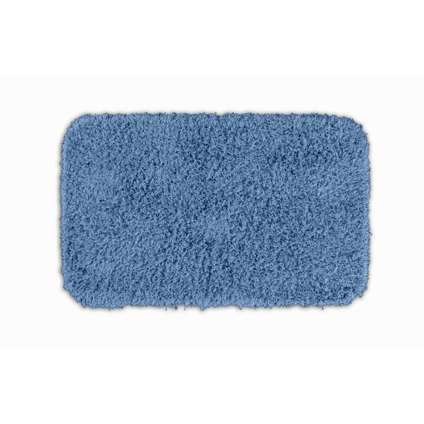 Somette Quincy Super Shaggy Basin Blue Washable 24 x 40 Bath Rug