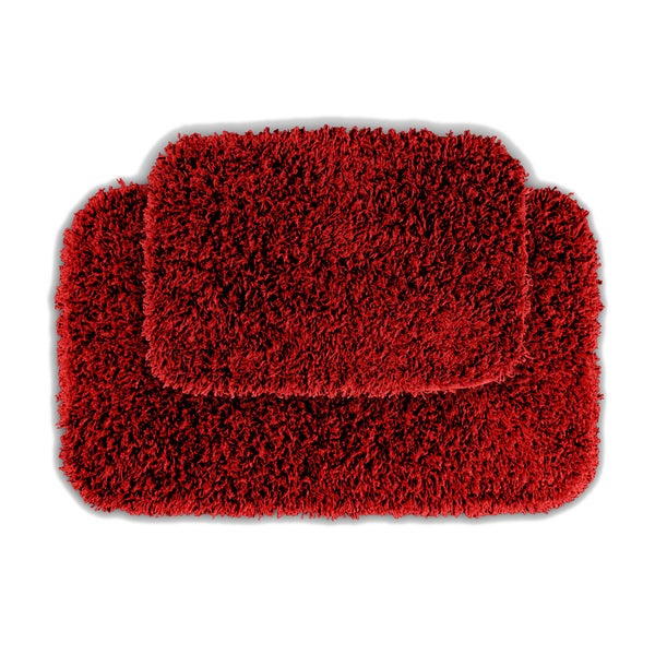 Somette Quincy Super Shaggy Chilli Pepper Red Washable 2-piece Bath Rug Set