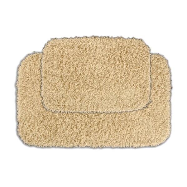 Somette Quincy Super Shaggy Sand Washable 2-piece Bath Rug Set