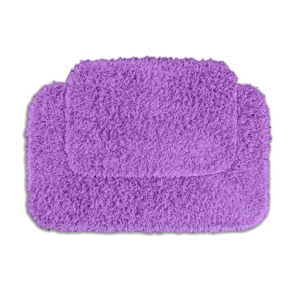 Somette Quincy Super Shaggy Purple Washable Bath Rugs (Set of 2)