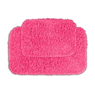 Somette Quincy Super Shaggy Pink Bath Rugs (Set of 2)