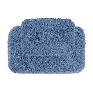 Somette Quincy Super Shaggy Basin Blue 2-piece Bath Rug Set