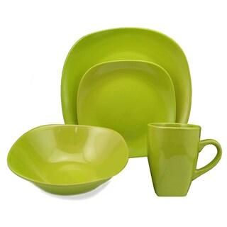 Lorren Home Trend 'Green' 16-piece Square Stoneware Dinnerware Set