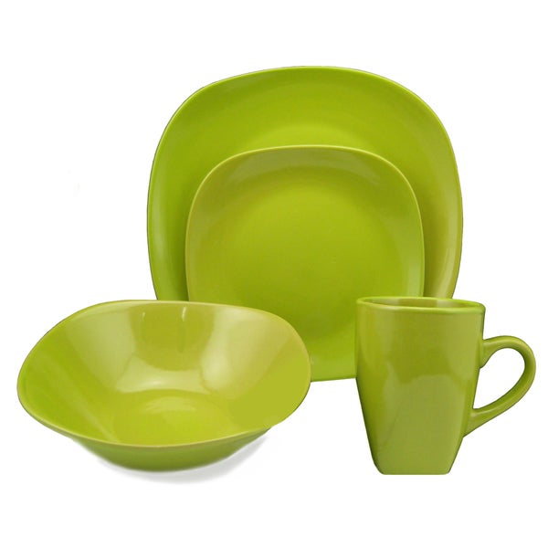 Lorren Home Trend 'Green' 16-piece Square Stoneware Dinnerware Set