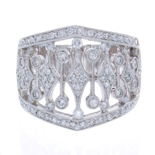 Victoria Kay 14k White Gold 7/8ct TDW Diamond Vintage Design Ring