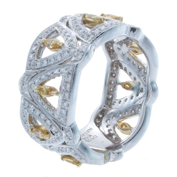 Victoria Kay 14k Gold 1 1/10ct TDW White and Yellow Diamond Pave Band (I-J, I1-I2)
