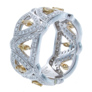 Victoria Kay 14k Gold 1 1/10ct TDW White and Yellow Diamond Pave Band (I-J, I1-I2)