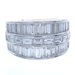 Victoria Kay 18k White Gold 3 3/8ct TDW Baguette Cut Diamond Ring (I-J, I1-I2)