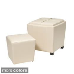 Metro Faux Leather 2-piece Ottoman Set