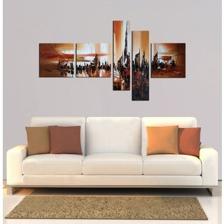 'Abstract City' 5-piece Gallery-wrapped Hand Painted Canvas Art Set