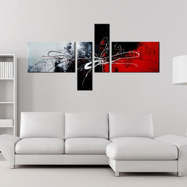 Abstract 435 4 Piece Gallery Wrapped Hand Painted Canvas