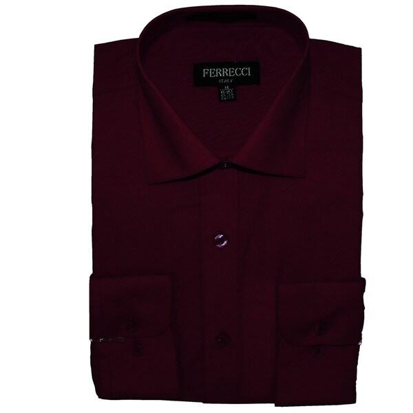Ferrecci men 39 s slim fit burgundy collared dress shirt for Burgundy fitted dress shirts