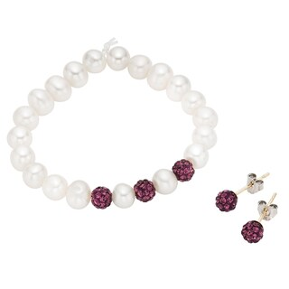 Pearlyta 14k Freshwater Pearl and Crystal Beads Baby Earring and Bracelet Set with Gift Box - Purple