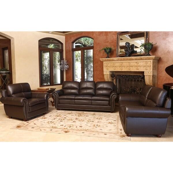 abbyson living laguna 3 piece dark brown top grain leather sofa set