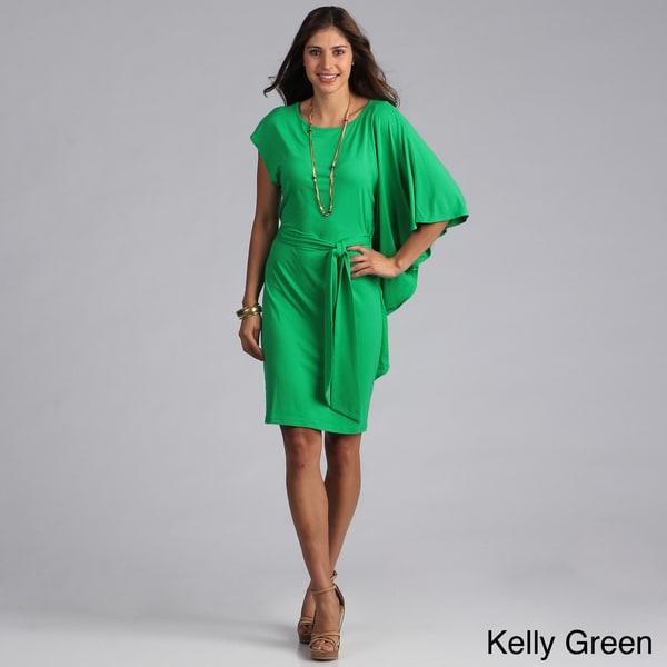 Biacci Women's Dolman Sleeve Tie-front Dress