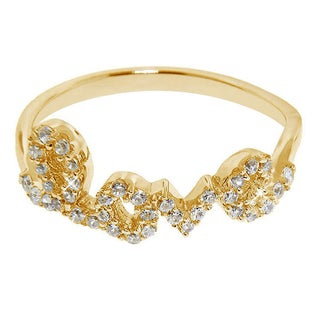 Eternally Haute Gold over Sterling Silver Cubic Zirconia Love Ring